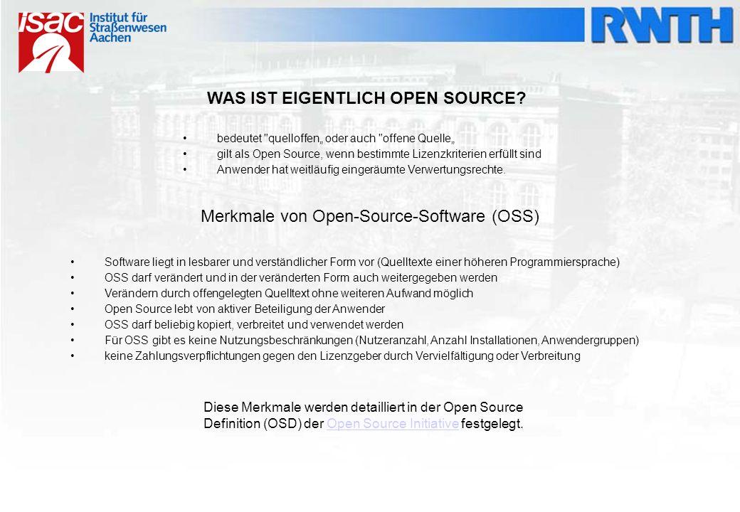 Freie Software – Open-Source-Software Freie Software Programm wird kostenlos angeboten Quelltext muss nicht offen dargelegt werden Open-Source-Software Quelltext muss für jedermann verfügbar und veränderbar sein Programm kann kostenlos angeboten werden, kann aber auch mit Kosten verbunden sein Ist an Kriterien, die in der Lizenz stehen, gebunden Um den Namenskonflikt zwischen Freie Software und Open – Source – Software zu umgehen, werden in jüngerer Zeit auch häufig die Begriffe FOSS und FLOSS (Free (/ Libre) and Open – Source – Software) verwendet.
