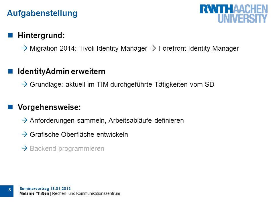 Seminarvortrag 18.01.2013 Melanie Thißen | Rechen- und Kommunikationszentrum 19 Verworfene Ansätze
