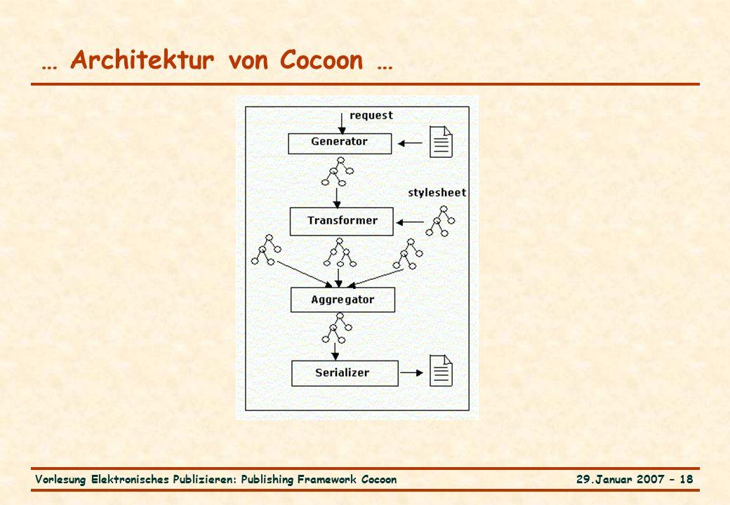 29.Januar 2007 – 18Vorlesung Elektronisches Publizieren: Publishing Framework Cocoon … Architektur von Cocoon …