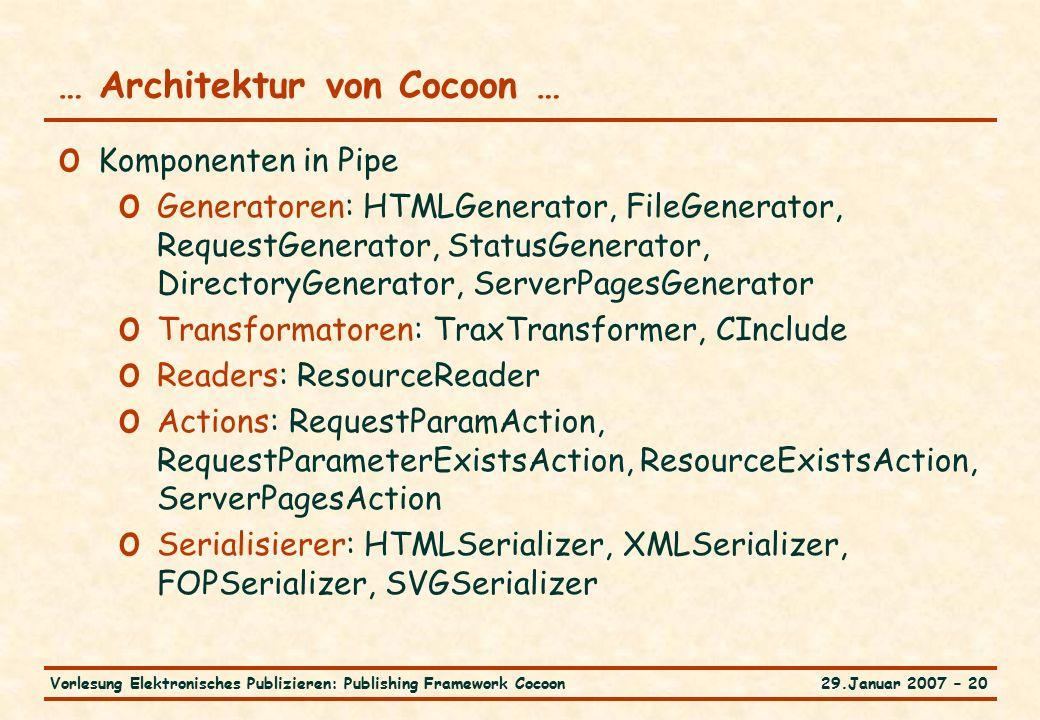 29.Januar 2007 – 20Vorlesung Elektronisches Publizieren: Publishing Framework Cocoon … Architektur von Cocoon … o Komponenten in Pipe o Generatoren: H