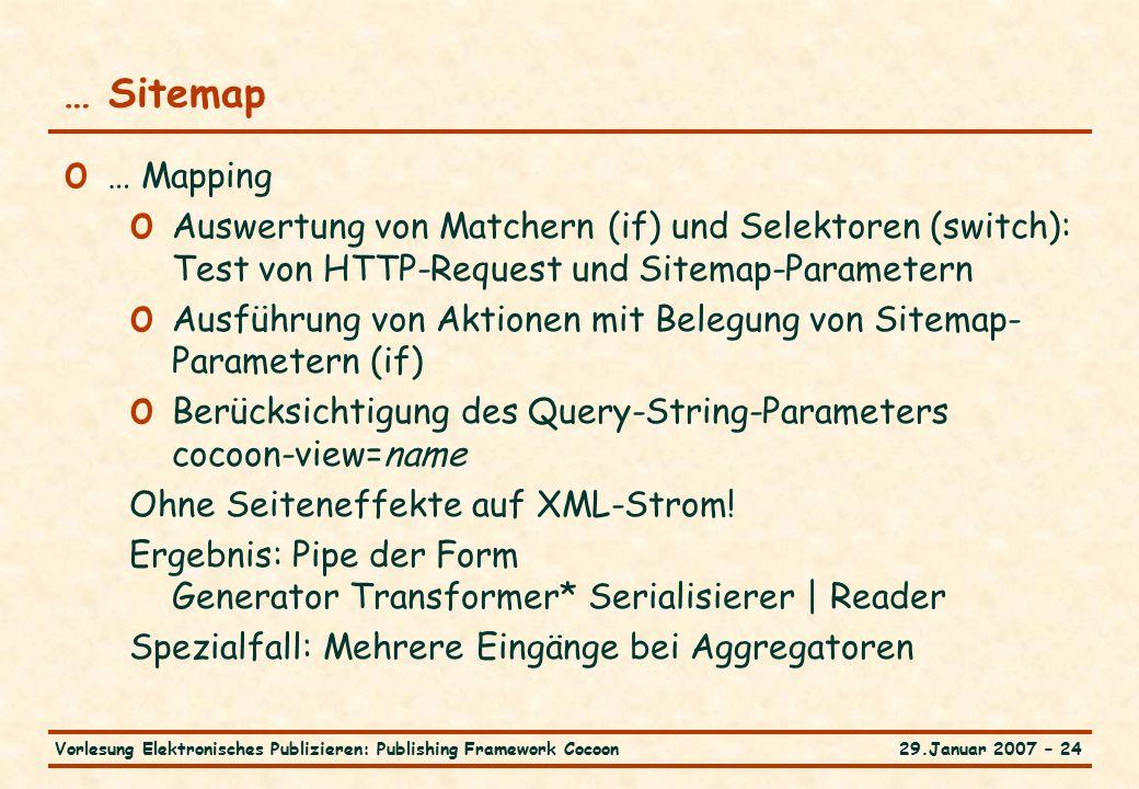 29.Januar 2007 – 24Vorlesung Elektronisches Publizieren: Publishing Framework Cocoon … Sitemap o … Mapping o Auswertung von Matchern (if) und Selektoren (switch): Test von HTTP-Request und Sitemap-Parametern o Ausführung von Aktionen mit Belegung von Sitemap- Parametern (if) o Berücksichtigung des Query-String-Parameters cocoon-view=name Ohne Seiteneffekte auf XML-Strom.