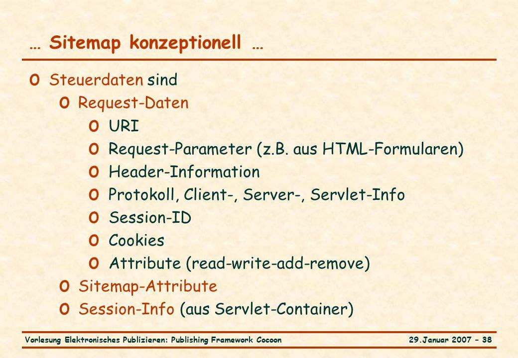 29.Januar 2007 – 38Vorlesung Elektronisches Publizieren: Publishing Framework Cocoon … Sitemap konzeptionell … o Steuerdaten sind o Request-Daten o URI o Request-Parameter (z.B.