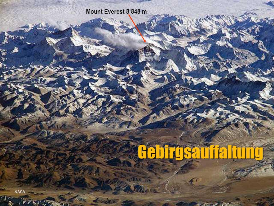 Gebirgsauffaltung NASA Mount Everest 8'848 m