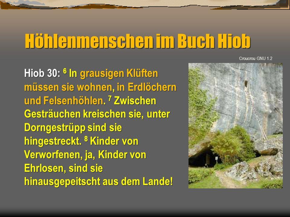 Höhlenmenschen im Buch Hiob Hiob 30: 6 In grausigen Klüften müssen sie wohnen, in Erdlöchern und Felsenhöhlen. 7 Zwischen Gesträuchen kreischen sie, u