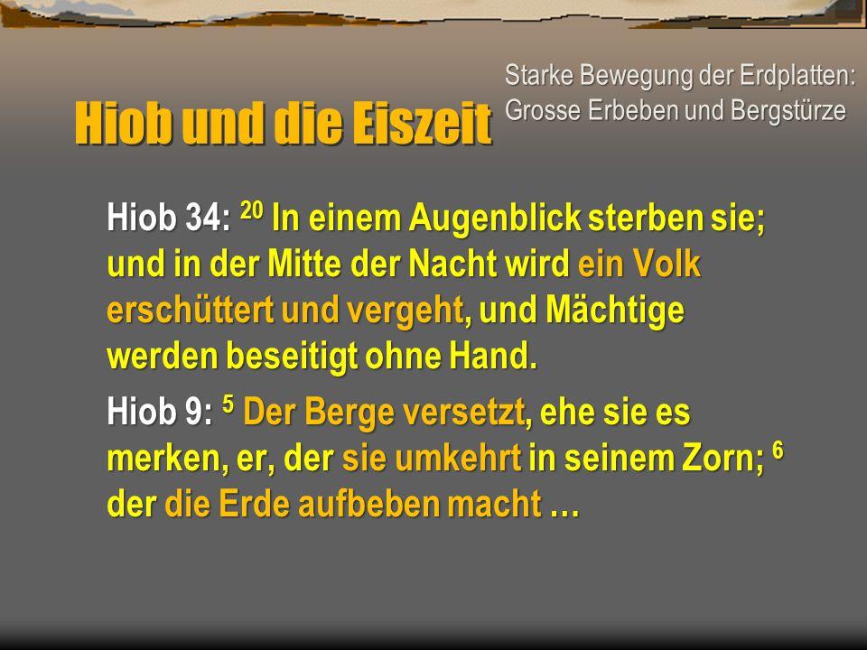 Hiob und die Eiszeit Hiob 34: 20 In einem Augenblick sterben sie; und in der Mitte der Nacht wird ein Volk erschüttert und vergeht, und Mächtige werde