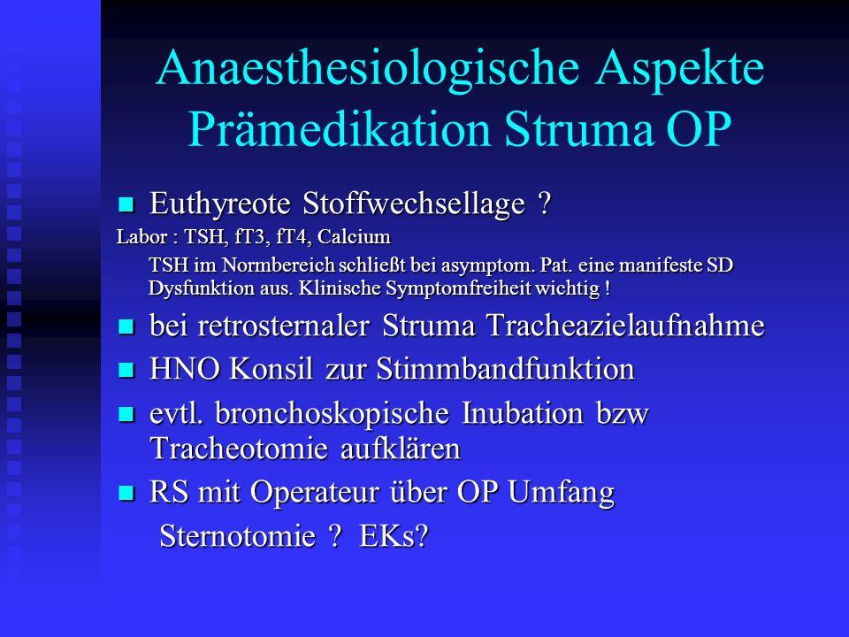 Anaesthesiologische Aspekte Prämedikation Struma OP Euthyreote Stoffwechsellage .