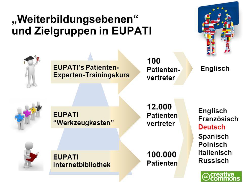 "EUPATI's Patienten- Experten-Trainingskurs ""Weiterbildungsebenen"" und Zielgruppen in EUPATI 100 Patienten- vertreter 12.000 Patienten- vertreter 100.0"