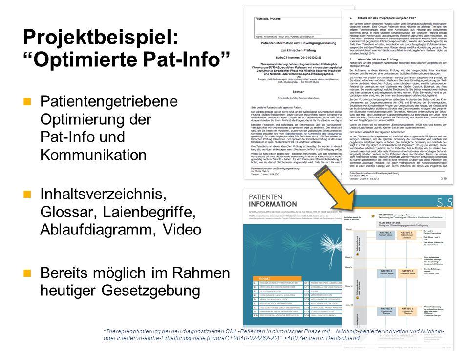 Projektbeispiel: Optimierte Pat-Info Patientengetriebene Optimierung der Pat-Info und Kommunikation Inhaltsverzeichnis, Glossar, Laienbegriffe, Ablaufdiagramm, Video Bereits möglich im Rahmen heutiger Gesetzgebung Therapieoptimierung bei neu diagnostizierten CML-Patienten in chronischer Phase mit Nilotinib-basierter Induktion und Nilotinib- oder Interferon-alpha-Erhaltungsphase (EudraCT 2010-024262-22) , >100 Zentren in Deutschland