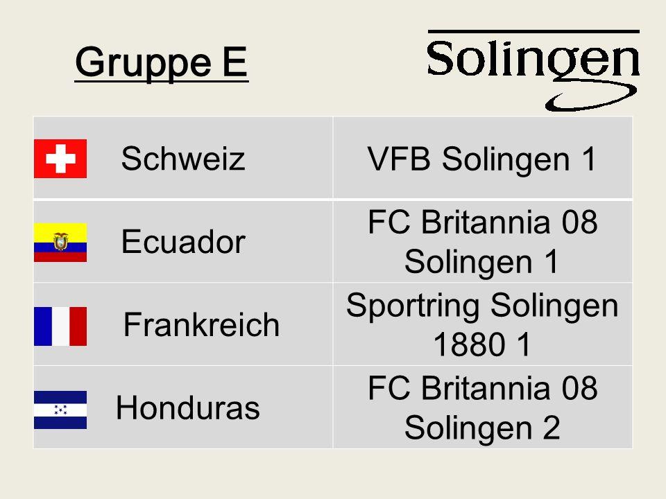 Gruppe E Schweiz VFB Solingen 1 Ecuador FC Britannia 08 Solingen 1 Frankreich Sportring Solingen 1880 1 Honduras FC Britannia 08 Solingen 2