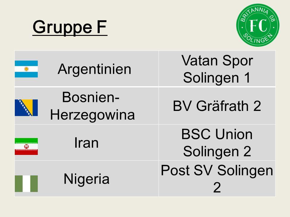 Gruppe F Argentinien Vatan Spor Solingen 1 Bosnien- Herzegowina BV Gräfrath 2 Iran BSC Union Solingen 2 Nigeria Post SV Solingen 2