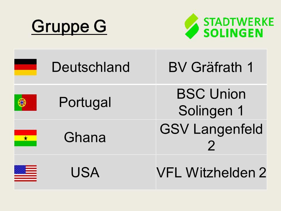 Gruppe G Deutschland BV Gräfrath 1 Portugal BSC Union Solingen 1 Ghana GSV Langenfeld 2 USA VFL Witzhelden 2