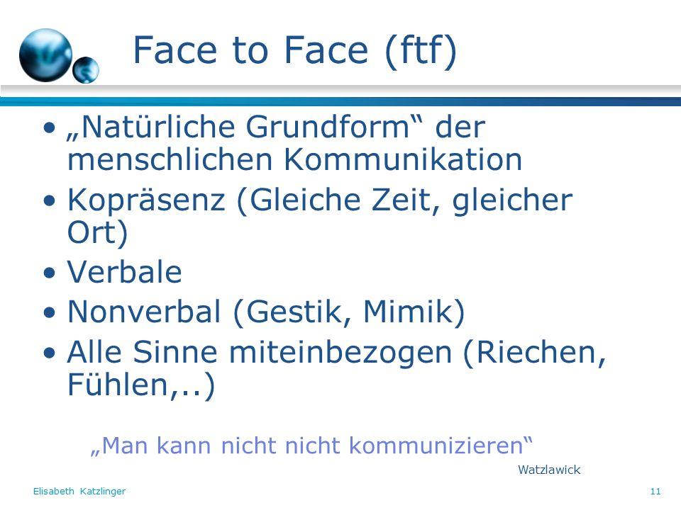 """Elisabeth Katzlinger11 Face to Face (ftf) """"Natürliche Grundform der menschlichen Kommunikation Kopräsenz (Gleiche Zeit, gleicher Ort) Verbale Nonverbal (Gestik, Mimik) Alle Sinne miteinbezogen (Riechen, Fühlen,..) """"Man kann nicht nicht kommunizieren Watzlawick"""