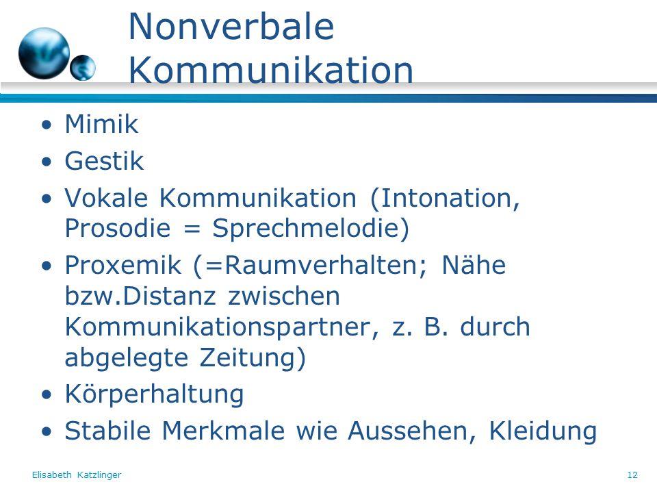 Elisabeth Katzlinger12 Nonverbale Kommunikation Mimik Gestik Vokale Kommunikation (Intonation, Prosodie = Sprechmelodie) Proxemik (=Raumverhalten; Nähe bzw.Distanz zwischen Kommunikationspartner, z.