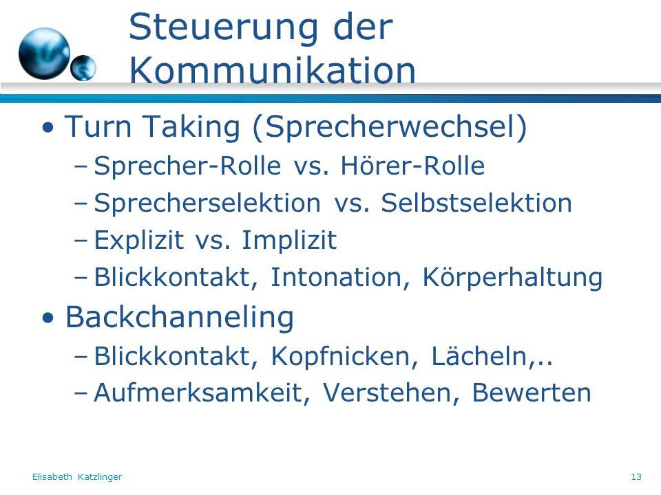 Elisabeth Katzlinger13 Steuerung der Kommunikation Turn Taking (Sprecherwechsel) –Sprecher-Rolle vs.