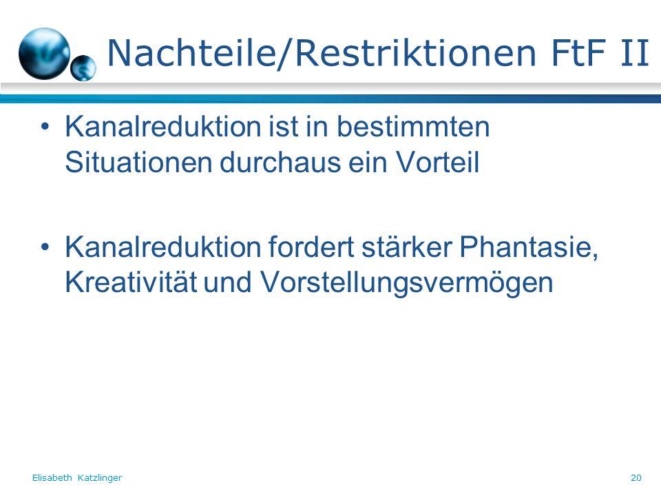 Elisabeth Katzlinger20 Nachteile/Restriktionen FtF II Kanalreduktion ist in bestimmten Situationen durchaus ein Vorteil Kanalreduktion fordert stärker Phantasie, Kreativität und Vorstellungsvermögen