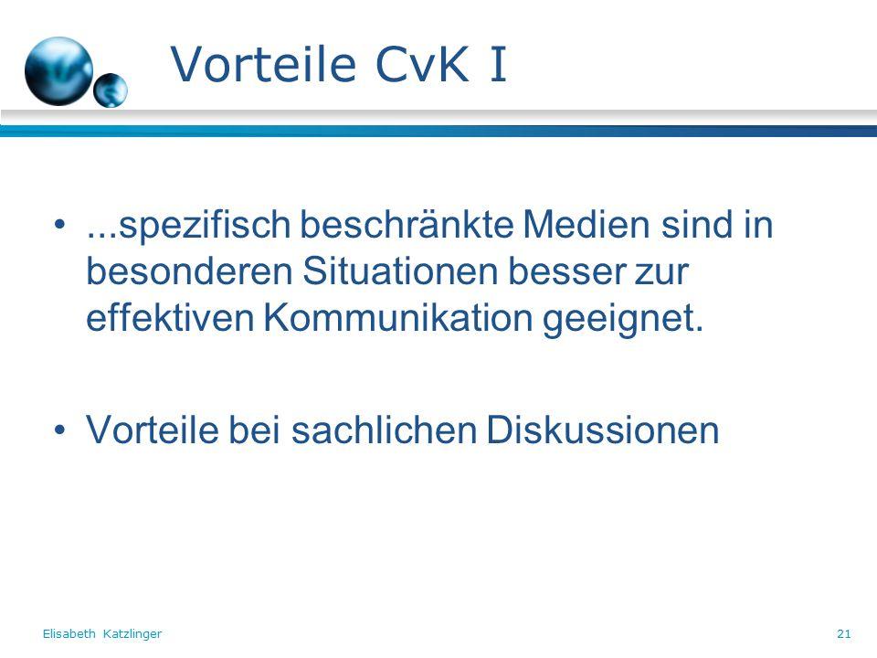 Elisabeth Katzlinger21 Vorteile CvK I...spezifisch beschränkte Medien sind in besonderen Situationen besser zur effektiven Kommunikation geeignet.