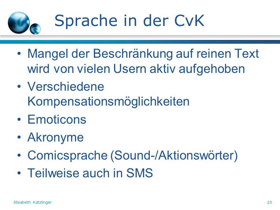 Elisabeth Katzlinger23 Sprache in der CvK Mangel der Beschränkung auf reinen Text wird von vielen Usern aktiv aufgehoben Verschiedene Kompensationsmöglichkeiten Emoticons Akronyme Comicsprache (Sound-/Aktionswörter) Teilweise auch in SMS