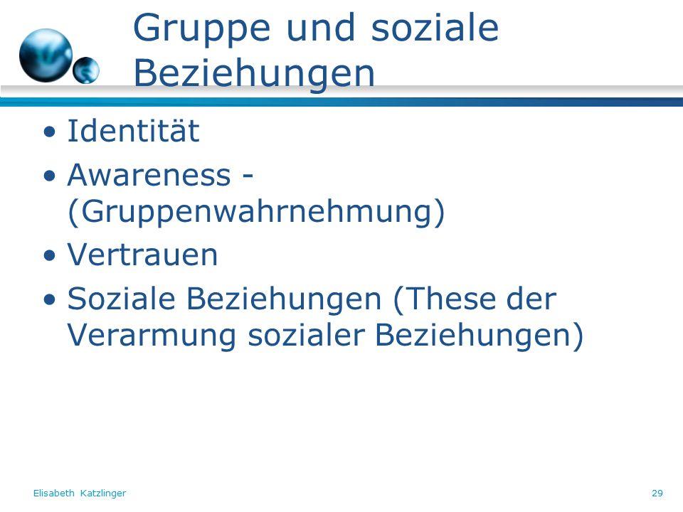 Elisabeth Katzlinger29 Gruppe und soziale Beziehungen Identität Awareness - (Gruppenwahrnehmung) Vertrauen Soziale Beziehungen (These der Verarmung sozialer Beziehungen)