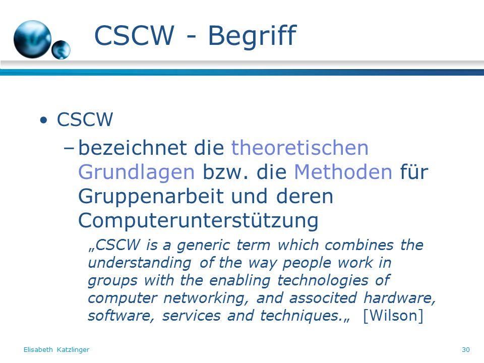 Elisabeth Katzlinger30 CSCW - Begriff CSCW –bezeichnet die theoretischen Grundlagen bzw.