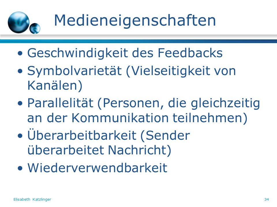 Elisabeth Katzlinger34 Medieneigenschaften Geschwindigkeit des Feedbacks Symbolvarietät (Vielseitigkeit von Kanälen) Parallelität (Personen, die gleichzeitig an der Kommunikation teilnehmen) Überarbeitbarkeit (Sender überarbeitet Nachricht) Wiederverwendbarkeit