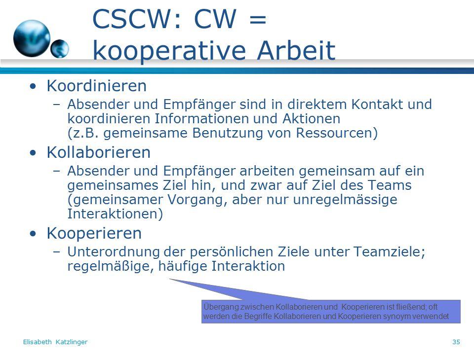 Elisabeth Katzlinger35 CSCW: CW = kooperative Arbeit Koordinieren –Absender und Empfänger sind in direktem Kontakt und koordinieren Informationen und Aktionen (z.B.