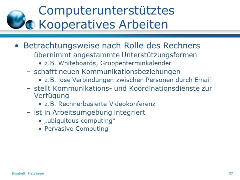 Elisabeth Katzlinger37 Computerunterstütztes Kooperatives Arbeiten Betrachtungsweise nach Rolle des Rechners –übernimmt angestammte Unterstützungsformen z.B.