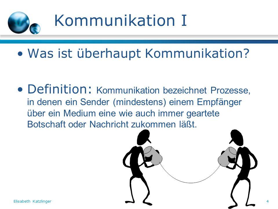 4 Kommunikation I Was ist überhaupt Kommunikation.