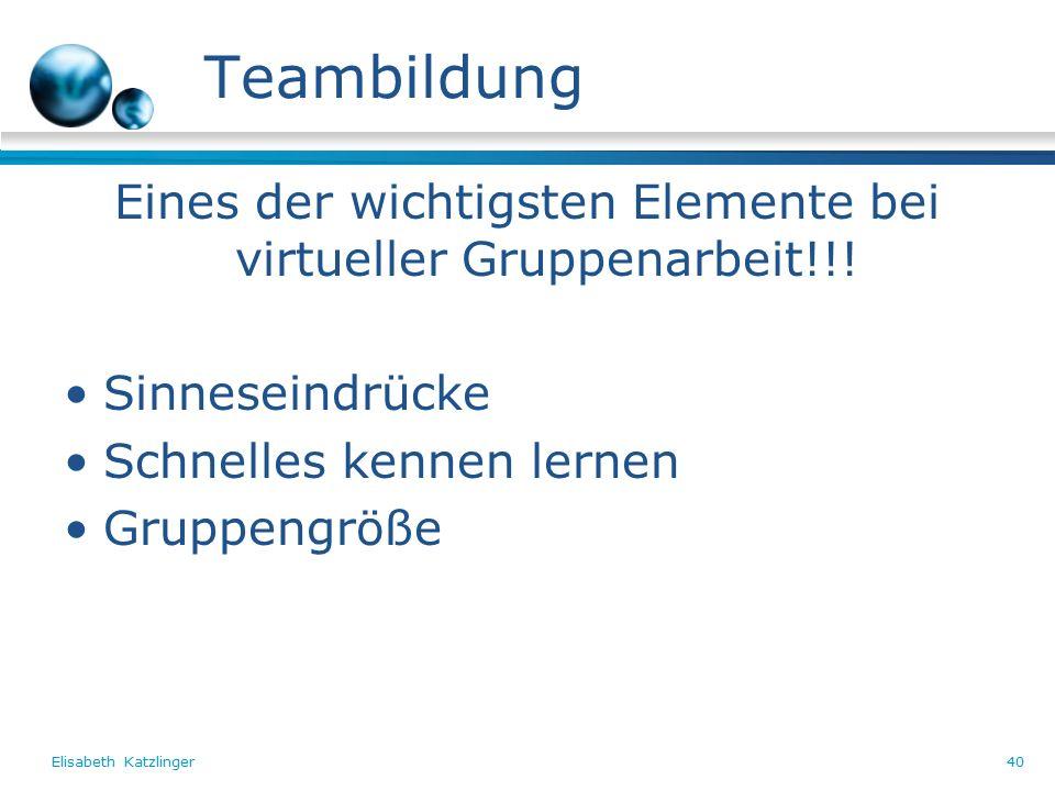 Elisabeth Katzlinger40 Teambildung Eines der wichtigsten Elemente bei virtueller Gruppenarbeit!!.