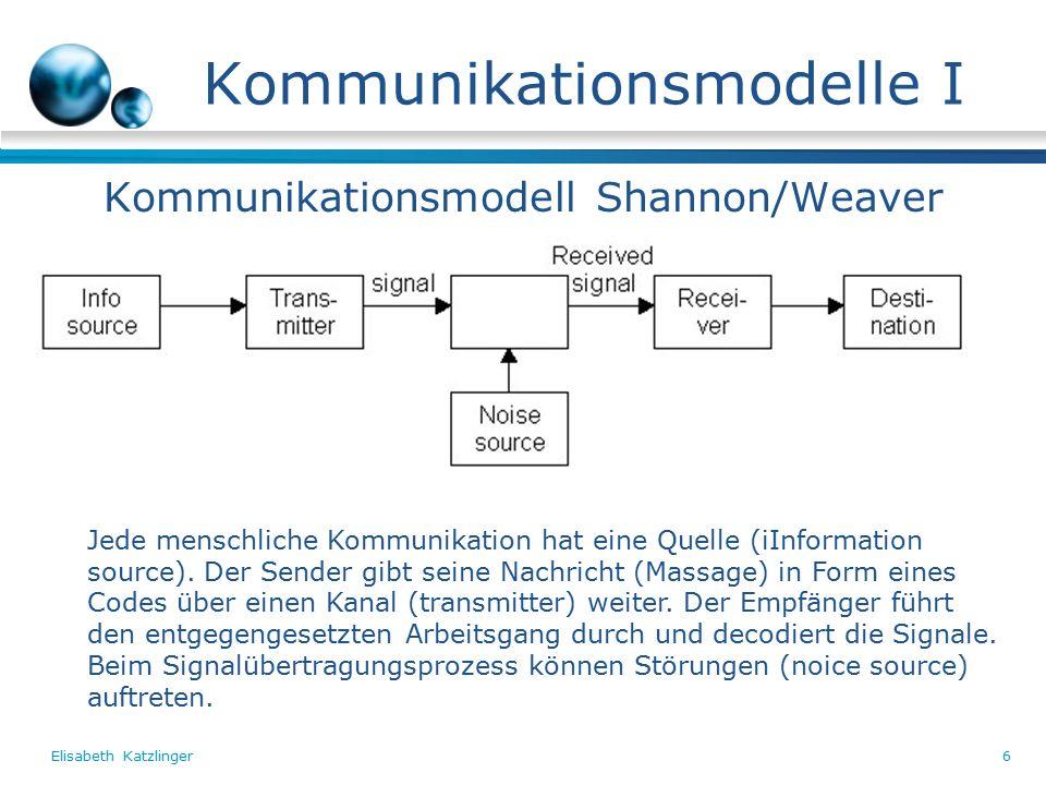 Elisabeth Katzlinger6 Kommunikationsmodelle I Kommunikationsmodell Shannon/Weaver Jede menschliche Kommunikation hat eine Quelle (iInformation source).