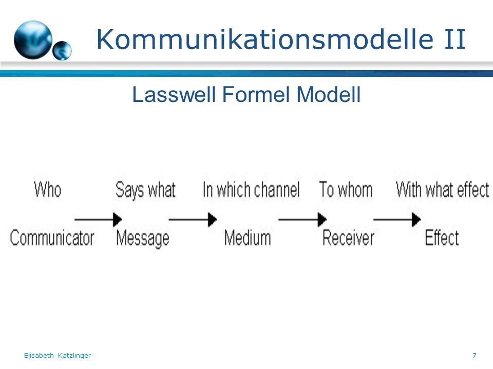 Elisabeth Katzlinger7 Kommunikationsmodelle II Lasswell Formel Modell