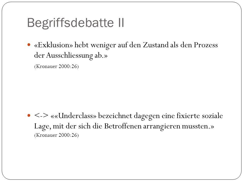 Begriffsdebatte II «Exklusion» hebt weniger auf den Zustand als den Prozess der Ausschliessung ab.» (Kronauer 2000:26) ««Underclass» bezeichnet dagege
