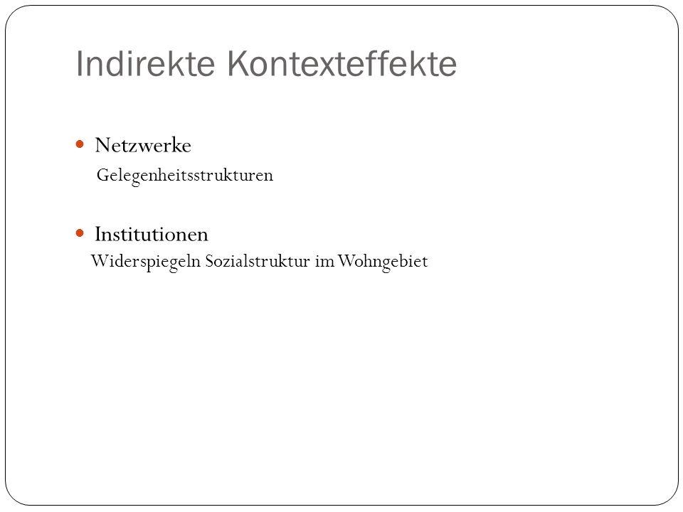 Indirekte Kontexteffekte Netzwerke Gelegenheitsstrukturen Institutionen Widerspiegeln Sozialstruktur im Wohngebiet