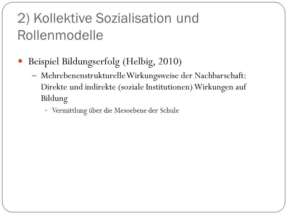 2) Kollektive Sozialisation und Rollenmodelle Beispiel Bildungserfolg (Helbig, 2010) – Mehrebenenstrukturelle Wirkungsweise der Nachbarschaft: Direkte