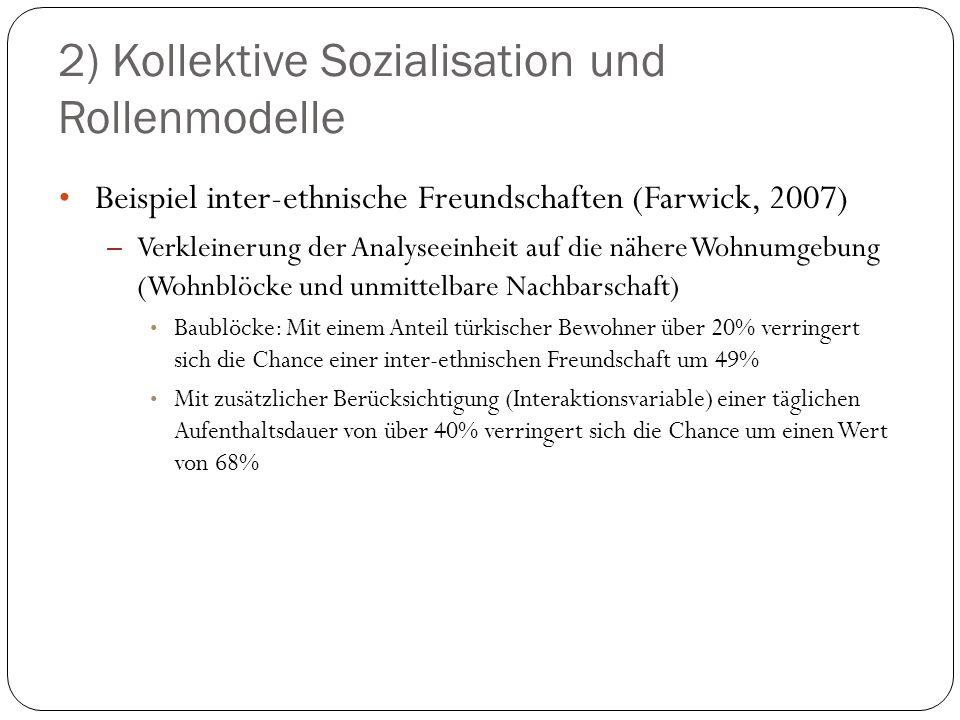 2) Kollektive Sozialisation und Rollenmodelle Beispiel inter-ethnische Freundschaften (Farwick, 2007) – Verkleinerung der Analyseeinheit auf die näher