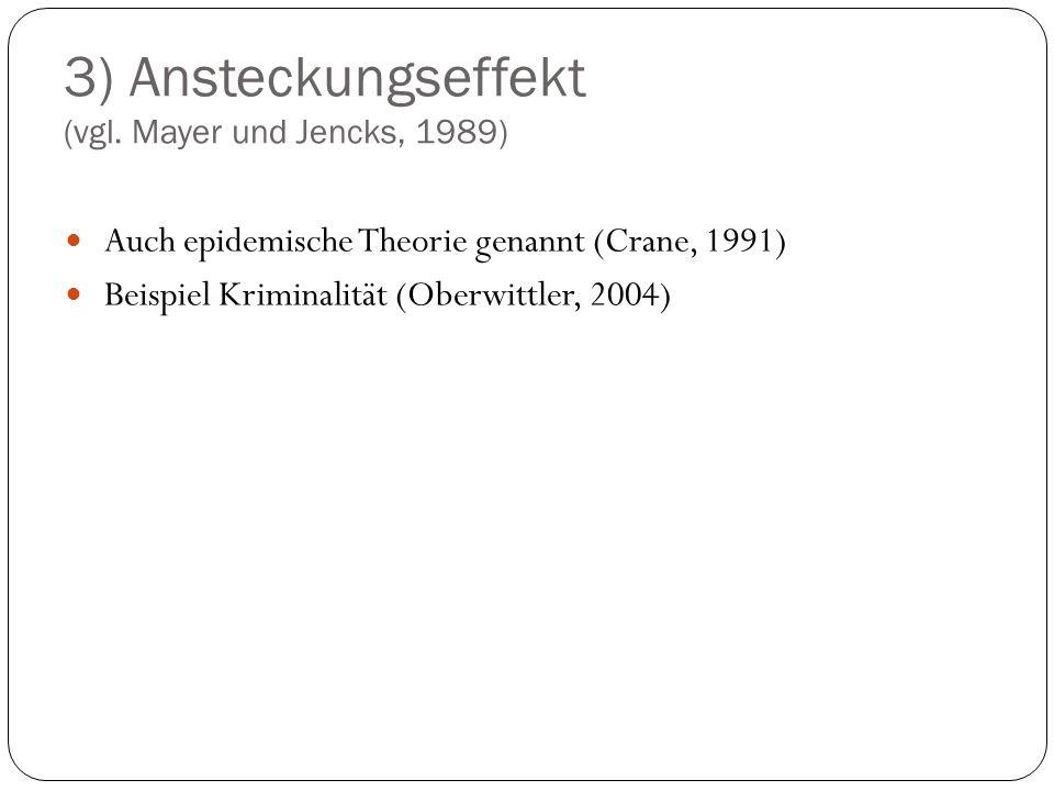 3) Ansteckungseffekt (vgl. Mayer und Jencks, 1989) Auch epidemische Theorie genannt (Crane, 1991) Beispiel Kriminalität (Oberwittler, 2004)