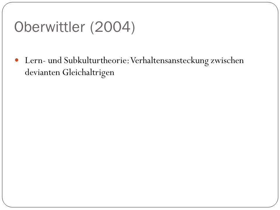 Oberwittler (2004) Lern- und Subkulturtheorie: Verhaltensansteckung zwischen devianten Gleichaltrigen