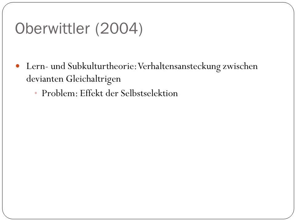 Oberwittler (2004) Lern- und Subkulturtheorie: Verhaltensansteckung zwischen devianten Gleichaltrigen Problem: Effekt der Selbstselektion