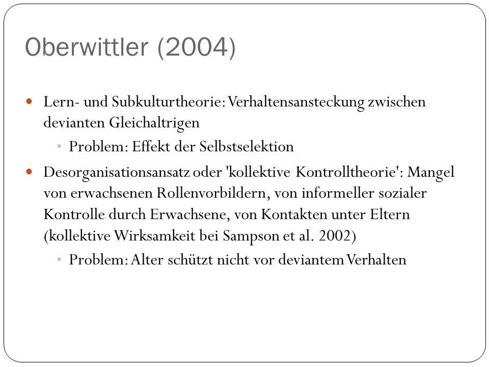 Oberwittler (2004) Lern- und Subkulturtheorie: Verhaltensansteckung zwischen devianten Gleichaltrigen Problem: Effekt der Selbstselektion Desorganisat