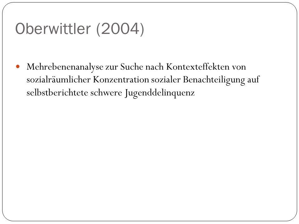 Oberwittler (2004) Mehrebenenanalyse zur Suche nach Kontexteffekten von sozialräumlicher Konzentration sozialer Benachteiligung auf selbstberichtete s