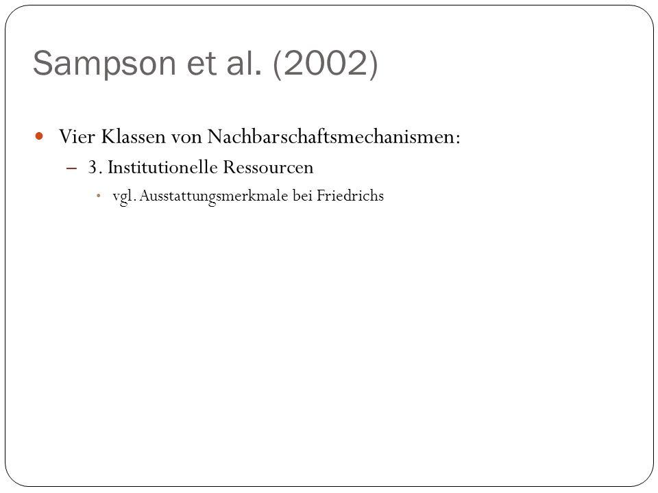 Sampson et al. (2002) Vier Klassen von Nachbarschaftsmechanismen: – 3. Institutionelle Ressourcen vgl. Ausstattungsmerkmale bei Friedrichs