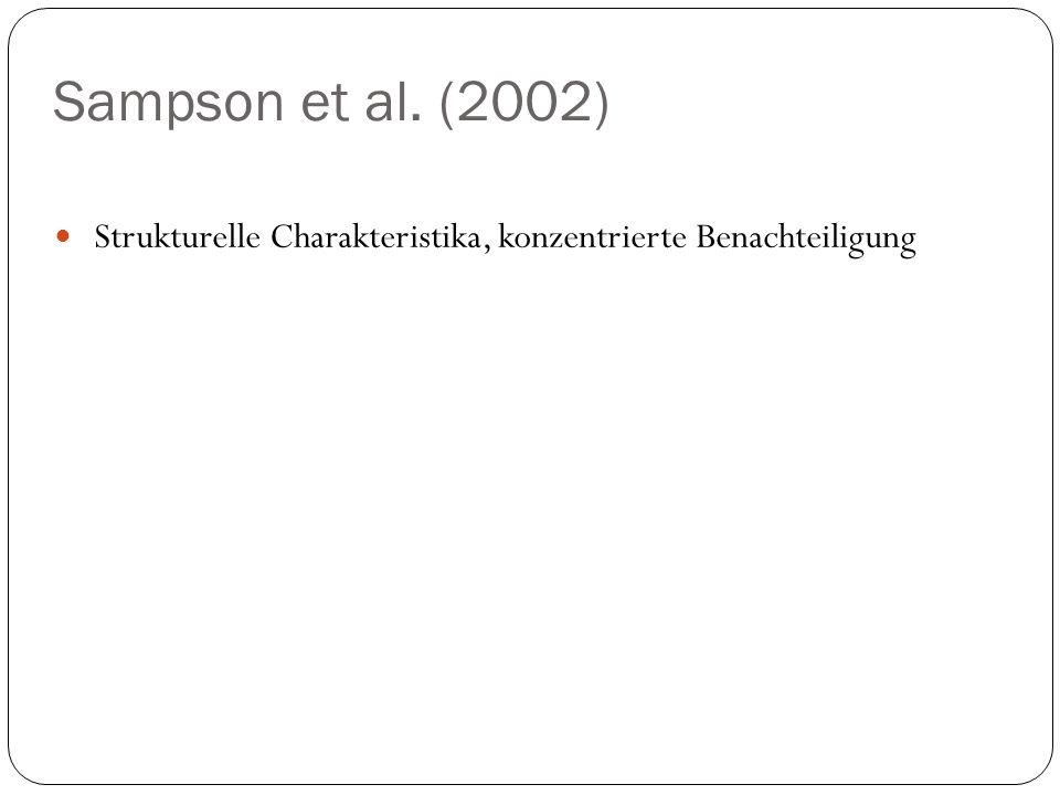 Sampson et al. (2002) Strukturelle Charakteristika, konzentrierte Benachteiligung