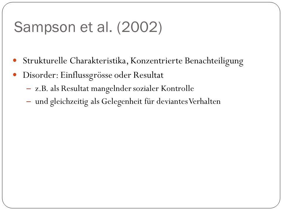 Sampson et al. (2002) Strukturelle Charakteristika, Konzentrierte Benachteiligung Disorder: Einflussgrösse oder Resultat – z.B. als Resultat mangelnde