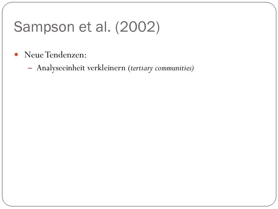 Sampson et al. (2002) Neue Tendenzen: – Analyseeinheit verkleinern (tertiary communities)