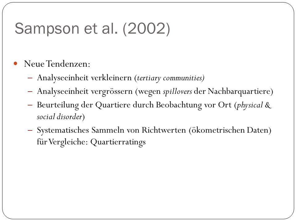 Sampson et al. (2002) Neue Tendenzen: – Analyseeinheit verkleinern (tertiary communities) – Analyseeinheit vergrössern (wegen spillovers der Nachbarqu