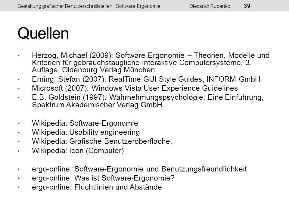 IFIP-Model Gestaltung grafischer Benutzerschnittstellen - Software-ErgonomieOlexandr Rudenko 40