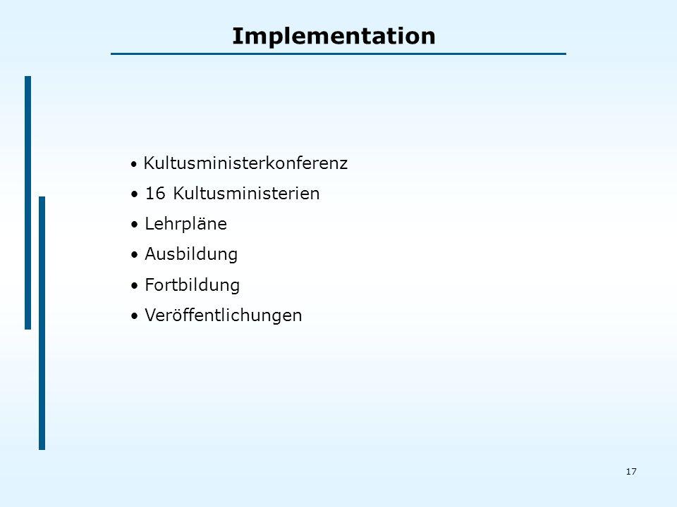 17 Implementation Kultusministerkonferenz 16 Kultusministerien Lehrpläne Ausbildung Fortbildung Veröffentlichungen