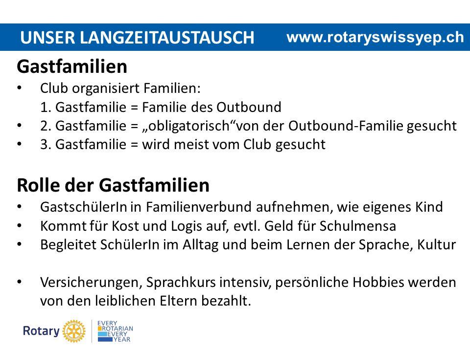 """UNSER LANGZEITAUSTAUSCH www.rotaryswissyep.ch Gastfamilien Club organisiert Familien: 1. Gastfamilie = Familie des Outbound 2. Gastfamilie = """"obligato"""