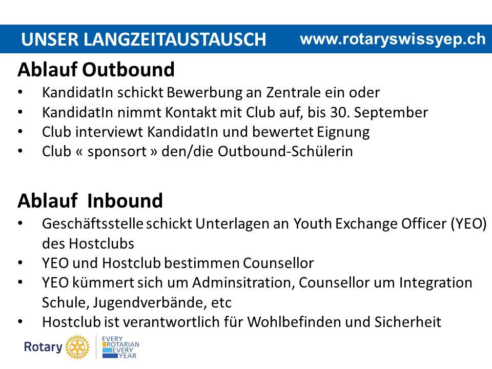 UNSER LANGZEITAUSTAUSCH Ablauf Outbound KandidatIn schickt Bewerbung an Zentrale ein oder KandidatIn nimmt Kontakt mit Club auf, bis 30. September Clu