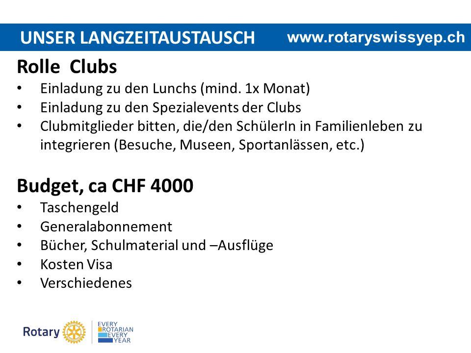 UNSER LANGZEITAUSTAUSCH www.rotaryswissyep.ch Rolle Clubs Einladung zu den Lunchs (mind. 1x Monat) Einladung zu den Spezialevents der Clubs Clubmitgli