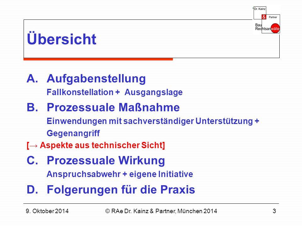 9. Oktober 2014© RAe Dr. Kainz & Partner, München 20143 Übersicht A.Aufgabenstellung Fallkonstellation + Ausgangslage B.Prozessuale Maßnahme Einwendun